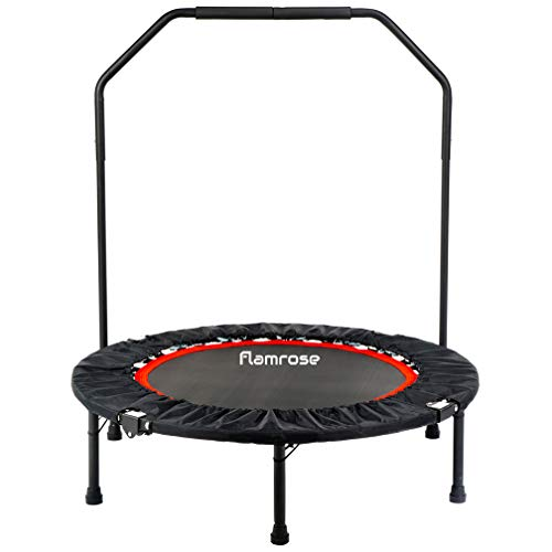 FLAMROSE Round Fitness Trampolines, Foldable Exercise Rebounder Trampoline with Handle, Indoor Outdoor Adults Kids Trampoline, Home Cardio Fitness (Black)