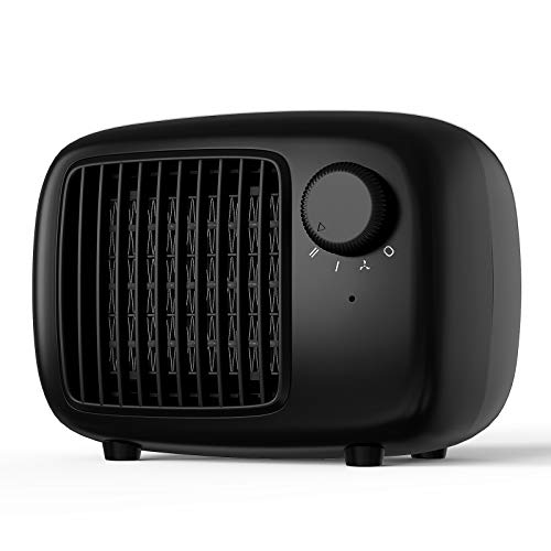 SHINEZONE - Calefactor de cerámica con dos niveles de potencia, calefactor de aire eléctrico portátil, calefacción eléctrica eléctrica para salón, baño, oficina, protección antivuelco, color negro