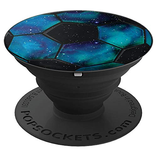 Blau Galaxie-Weltraum Fußball für Jungs - PopSockets Ausziehbarer Sockel und Griff für Smartphones und Tablets