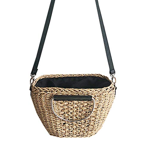 Hand-woven handbags allow you to enjoy fresh and colorful everyday work or on the go Size: upper mouth length: 29cm / lower mouth length: 17cm / height: 20cm / thickness: 13cm / shoulder strap length 120cm. Capacity: This shoulder bag is a hand-woven...