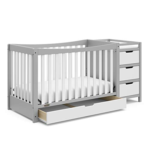 Graco Remi 4-in-1 Convertible Crib with Drawer and Changer (Pebble Gray) - JPMA-Certified Crib with Storage Drawer, Attached Changing Table with 3 Drawers, 2 Shelves, and Water-Resistant Changing Pad