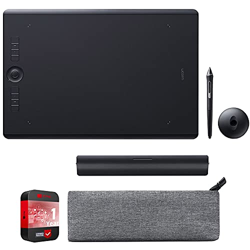 Wacom Pth860 Intuos Pro Large Creative Pen Tablet, Black Bundle With Wacom Paper Clip Ack42213 And 1 Year Extended Protection Plan