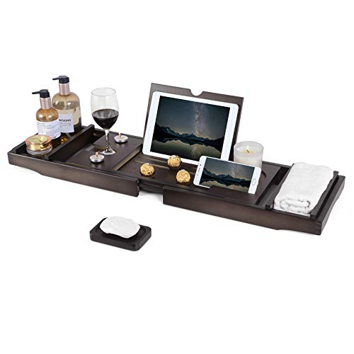 Bathtub Caddy Tray, Bamboo Bathtub Tray with Tablet and Wine Holder, Extendable Sides Nonslip Bottom Bath Organizer, Free Soap Dish (Brown)