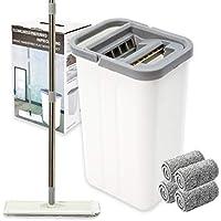 Htkmos Microfiber Floor Flat Mop and Bucket Set