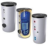200 Liter emaillierter Solarspeicher/Warmwasserspeicher/Trinkwasserspeicher, Energieeffiziensklasse B, mit 1 Wärmetauscher, inkl. Isolierung, Magnesiumanoden und Thermometer