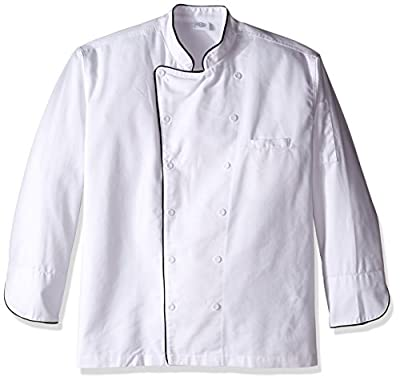 Dickies Chef Executive Coat with Stain Repellent with Piping, White/Black, X-Large