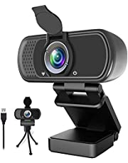 1080P Webcam,Live Streaming Web Camera with Stereo Microphone, Desktop or Laptop USB Webcam with 110 Degree View Angle, HD Webcam for Video Calling, Recording, Conferencing, Streaming, Gaming