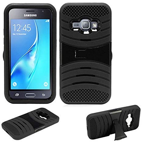 Phone Case for Samsung Galaxy-Express-3 (at&T) / Cricket Wireless Samsung Galaxy-Amp-2 4g LTE Rugged Heavy Duty Armo Cover Stand (Armor Black Skin-Black Stand)