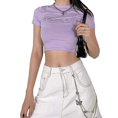 FeMereina Camiseta de manga corta para mujer, diseño casual, ajustado, cuello redondo, ajustado
