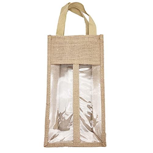 Incdnn Bolsa de transporte de yute reutilizable de arpillera con ventana transparente con asas, bolsa de regalo para botellas de vino