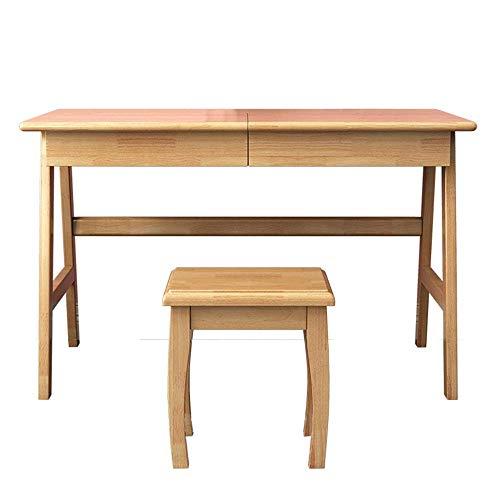 Equipo diario Juego de mesa de maquillaje para niñas, mujeres, juego de dormitorio con espejo con tapa abatible, tocador, escritorio, escritorio con 1 cajón, juego de taburete (Tamaño del color: 11