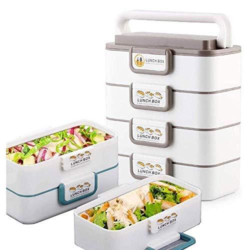 Fiambrera Apilable portátil caja de almuerzo reutilizable, acero inoxidable Alimentación de transporte de contenedores, Bento envase de la caja for la oficina de la escuela picnics al aire libre disfr