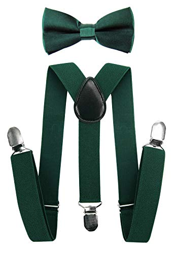 axy Hochwertige Kinder Hosenträger-Y Form mit Fliege- 3 Clips EXTRA STARK-Uni Farben (Grün)