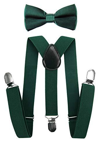 Tirantes para niños Axy con forma de Y con pajarita, con 3 pinzas extrarresistente, color liso verde verde