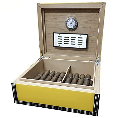 Humidore Zigarrenschachtel-Zigarren Zubehör Handgefertigte Holz for 50 Zigarren Fall mit Hygrometer und Befeuchter Holz Zigarren Humidore Geschenke (Color : Yellow, Size : 28 * 24 * 12 cm)