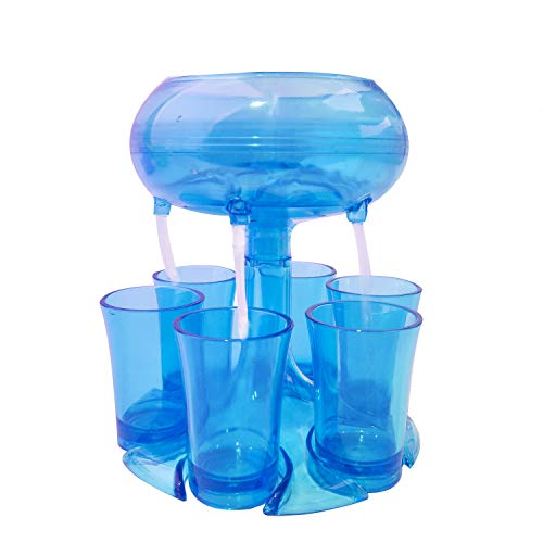 6 Shot Glasses Acrylic Dispenser Holder SetBeverage Cocktail Dispenser with PlugsPortable Bar Accessory Red Wine Lifter Party Favors HolderDrinking Games CarrierLiquor Beer Separators blue