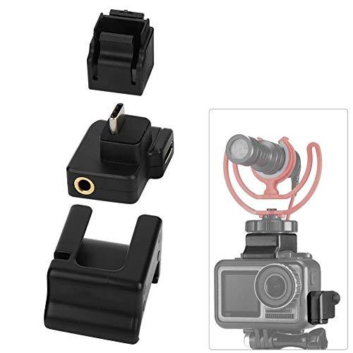 Adaptador de Audio de Video de cámara, acción portátil Jaula de cámara Micrófono Mic Adaptador de Audio de 3.5 mm para dji OSMO Action