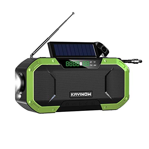 Altavoz inalámbrico Bluetooth, radio FM AM, Bluetooth 5.0, compatible con tarjeta TF, generación de energía manual, altavoz exterior impermeable, batería de 5000 mAh.