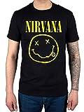 Official Nirvana Smiley T-Shirt, Black, M