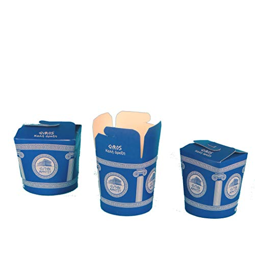 Pack4Food 500 Gyrosboxen Gyrps Snackbox Gyros to go Box Gyrosbox Hartpapier 16oz ca.500ml Neutraldruck Gyrosbox Blau weiß