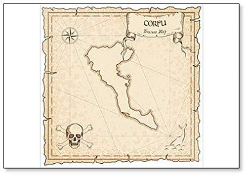 Corfu oude piraat kaart. Illustration Classic Koelkast Magneet