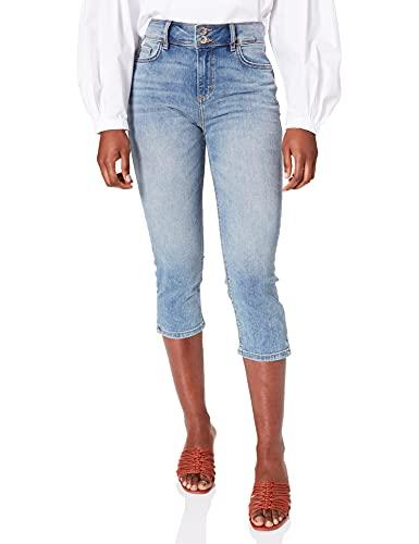 TOM TAILOR Damen 1024918 Kate Slim Capri Jeans, 10125-Random Bleached Blue Denim, 27