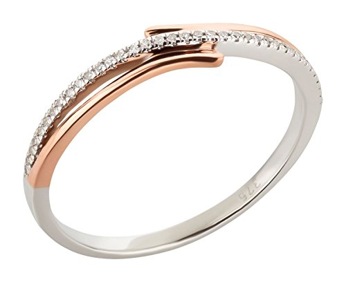 Ardeo Aurum Damenring aus 375 Gold bicolor Weißgold Rosegold mit 0,05 ct Diamant Brillant Verlobungsring