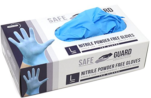 Safeguard Nitrile Disposable Gloves, Powder Free, Food Grade Gloves, Latex Free, 100 Pc, 1count