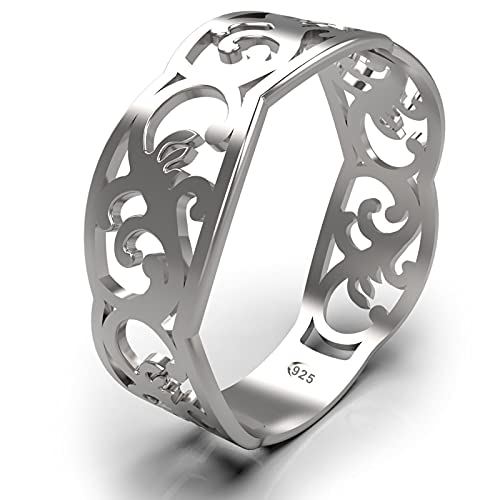 925 Sterling Silver Filigree Celtic Band Ring - Norwegian Rosemaling Floral Pattern - Thumb Pinky Rings for Women - Сute Dainty Knuckle Rings for Teen Girls - Norse Nordic Jewelry - Size 9 (9)