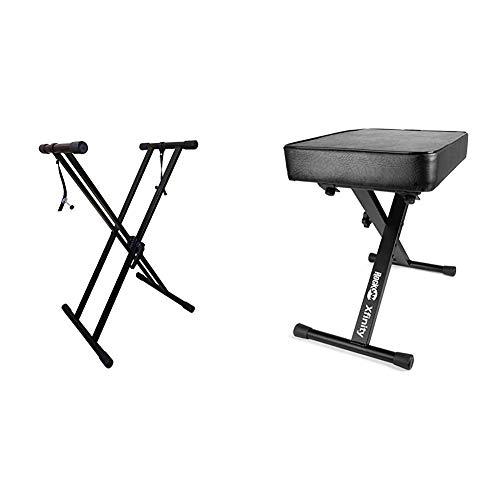 RockJam Xfinity Heavy-Duty, Double-X, Adjustable Piano Keyboard Stand with KB100 Padded Keyboard Bench