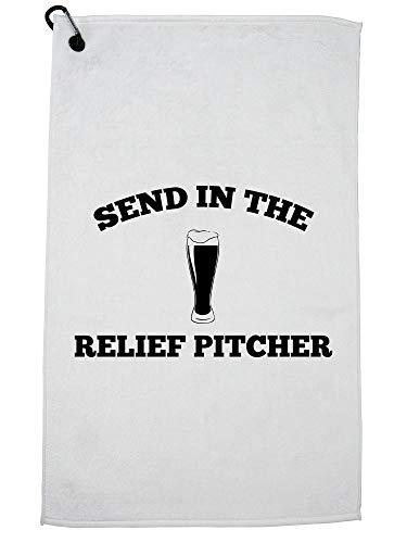 Hollywood Thread Send In The Relief Pitcher - Bier en Baseball Graphic Golf Handdoek met Karabijnhaak Clip