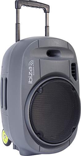 "PORT12VHF-GR-MKII - Ibiza Sound - Sistema de Sonorizacion Portatil Autonomo 12"" con USB-MP3, Bluetooth, Vox, 2 Micros VHF, Gris"