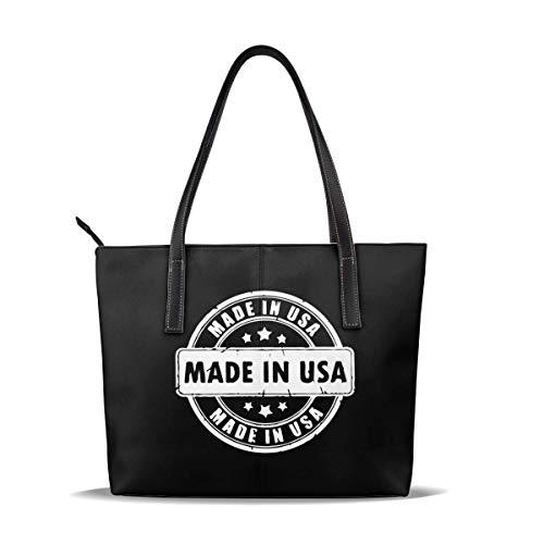 Damen Casual Leder Tote Große Schultertasche - Made in USA Stempel Griff Tasche für Arbeit & Reisen