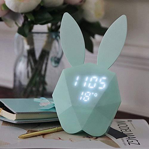 Kreative Uhr Kaninchen Modell Wecker Intelligente Sprach Steuerung USB Lade Kleine Nachtlicht Wohnkultur,Blau