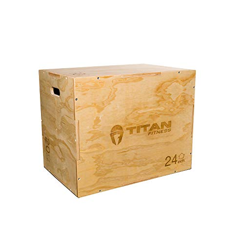 Titan Fitness 20 in. 24 in. 30 in. Wooden Plyometric Box HD Plyo Box Jump Exercise Training