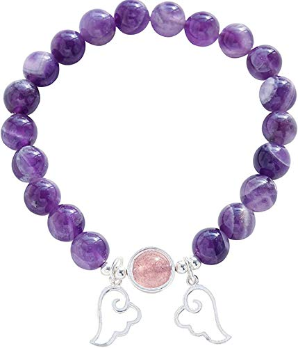AnimeFiG Feng Shui Lucky Bracelet for Women Natural Amethyst Sterling Silver Wings Strawberry Quartz Bead Bracelet Crystal Stretchy Bangle Attract Wealth Talisman for Prosperity Money Good Luck