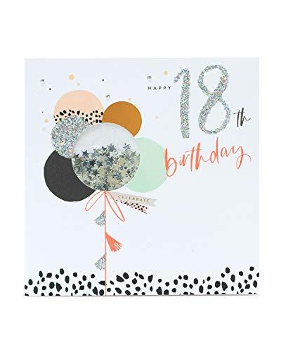 Geburtstagskarte zum 18. Geburtstag, für Damen, Neon-Pailletten-Design