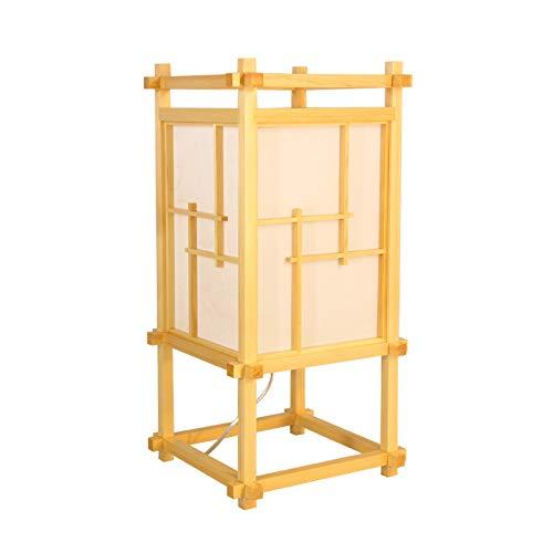 YU-K Lampe de table japonaise imitation bois 25 x 25 x 50 cm Warmes Licht