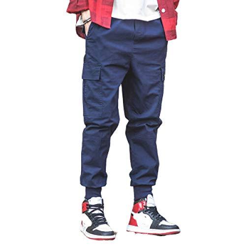 Herren Frachthose Kampfhose Streetwear Punk Casual Kordelzug Bänder Harem Joggerhose Slim Fit Trainingsanzug mit Mehreren Taschen Arbeitskleidung Jogginghose Hip Hop Dancing Bottoms 4XL