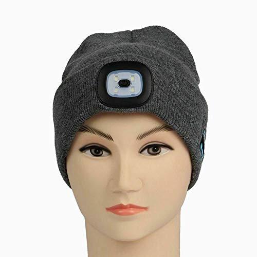 Cuffie Per Dormire Bluetooth Lampada Frontale A Led Bluetooth 5.0 Senza Fili Usb Ricaricabile Hat Skullies & S-Grey