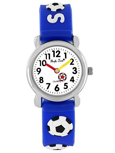 Pacific Time Kinder-Armbanduhr Fussball Armbanduhr Kinder Jungen Soccer Jungs Kinderuhren Uhren Lernuhr Uhr Kinderarmbanduhr Kinderuhr analog Quarz blau 20073