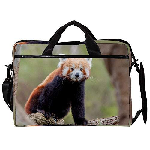 Roter Panda Laptop-Tasche Umhängetasche für Notebook Tablet mit verstellbarem Schultergurt Canvas Messenger Aktentasche Handtasche Hülle für Frau, Mann 38.1x27.94x2.54cm