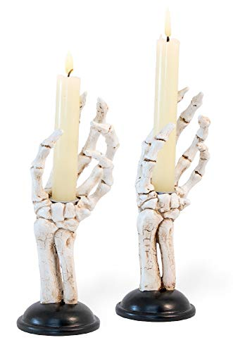 Boston International Halloween Taper Candle Holders, Set of 2, 3 x 8-Inches, Skeleton Hands