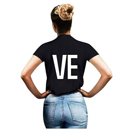 ELECTRI Hauts pour Hommes T-Shirt Col Rond Homme T-Shirt Imprimé Homme L.O.V.E T-Shirt Couple Amoureux pour 2 T-Shirt DéContracté à Manches Courtes Chemise Ample Homme Top Simple 3XL