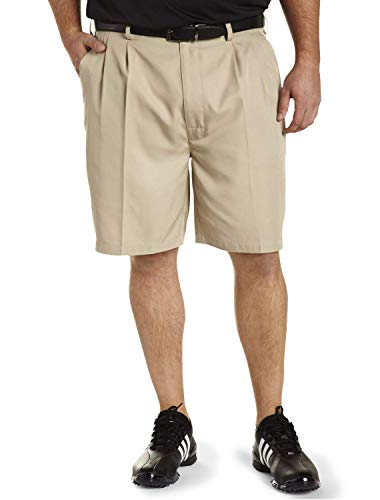 Reebok Big and Tall Golf Play Dry Continuous Comfort Pleated Shorts, Khaki, 44 Reg