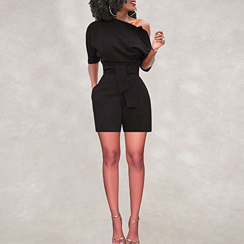 TOTOD Rompers for Women, Summer Sexy Off Shoulder Ruffle Shorts Fashion Short Sleeve Jumpsuits with Pockets(Black,2XL)