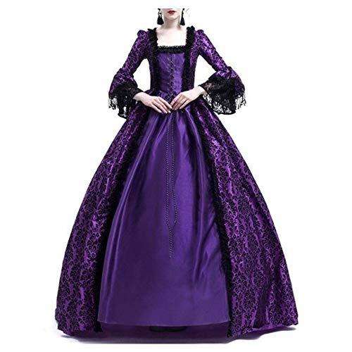 Fossenfeliz Disfraz Bruja Mujer Gótico - Disfraces Medievales Princesa Reina, Vestidos de Fiesta Mujer Tallas Grandes de Halloween (Púrpura, S)