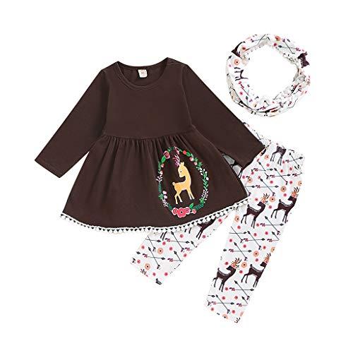 Hui.Hui Vêtements de Bébé Fille Robe à Franges Manches Longues + Dessin Animé Pantalons + écharpe Tenues Hiver Carnaval Anniversaire Fête Ensembles Chic Noël Vêtements
