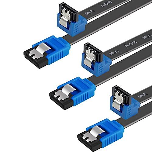 BENFEI Cable SATA III,3 Unidades, 6 Gbps, ángulo Recto de 90 Grados,...