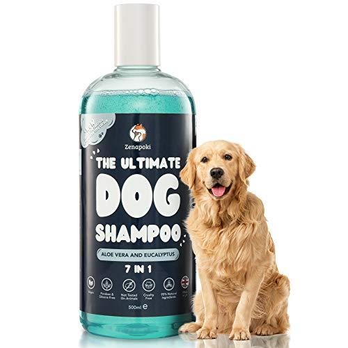 ZENAPOKI - Hundeshampoo sensitiv Naturprodukt, 500 mL, Fellpflege für Hunde - Welpen Shampoo Aloe Vera, Eucalyptus, Hundeshampoo gegen Juckreiz und Geruch, pH-neutral - Shampoo Hund alle Fell Typen